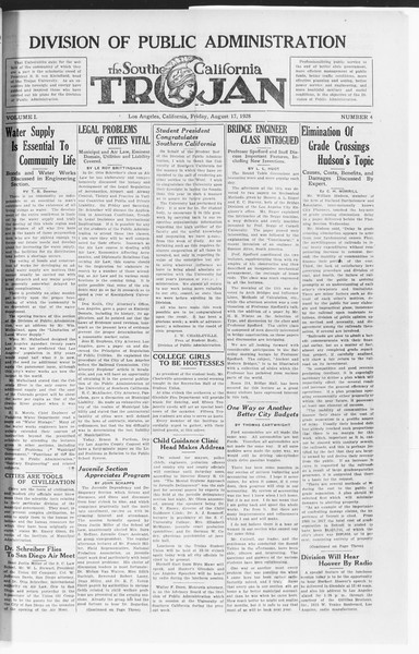 Trojan: Division of Public Administration, Vol. 1, No. 4, August 17, 1928