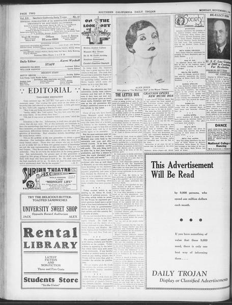 Daily Trojan, Vol. 20, No. 37, November 05, 1928