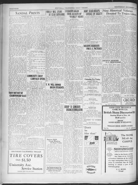 Southern California Daily Trojan, Vol. 21, No. 37, November 06, 1929
