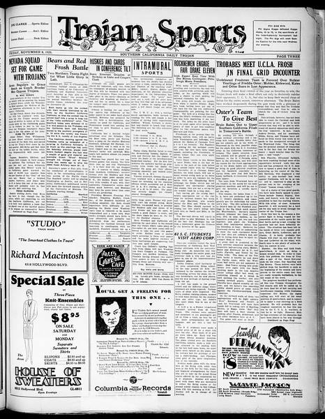 Southern California Daily Trojan, Vol. 21, No. 39, November 08, 1929