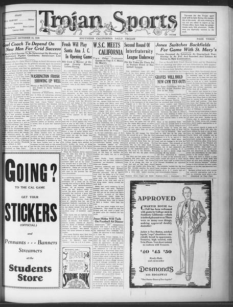 Daily Trojan, Vol. 20, No. 19, October 10, 1928