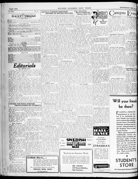 Southern California Daily Trojan, Vol. 21, No. 138, May 14, 1930