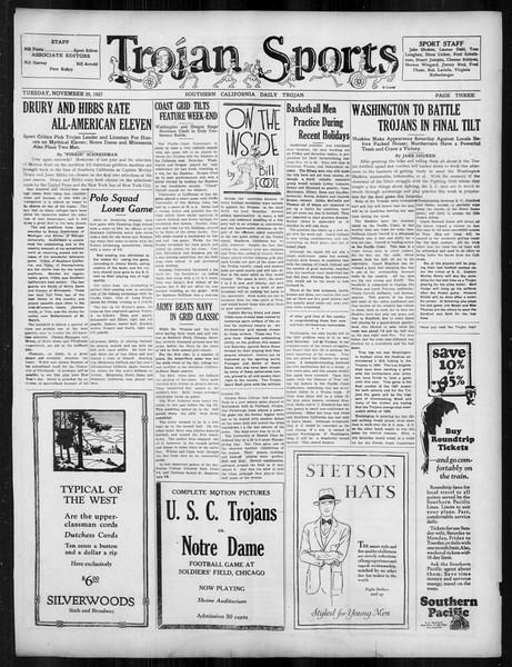 Daily Trojan, Vol. 19, No. 47, November 29, 1927