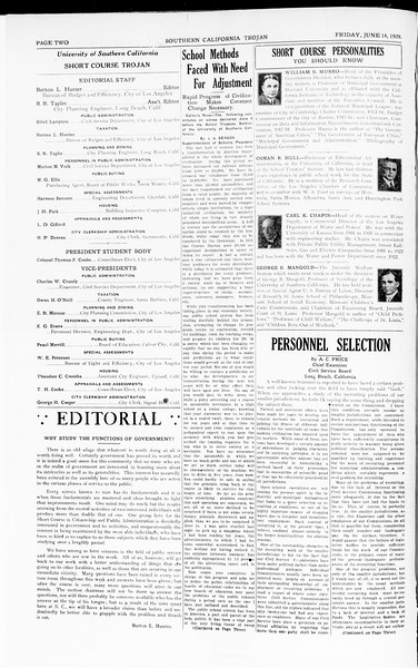 The Southern California Trojan: School of Citizenship and Public Administration, Vol. 2, No. 2, June 14, 1929