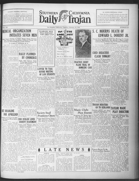 Daily Trojan, Vol. 20, No. 86, February 19, 1929
