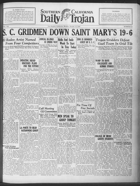 Daily Trojan, Vol. 20, No. 22, October 15, 1928