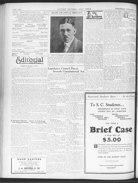 Daily Trojan, Vol. 20, No. 87, February 20, 1929