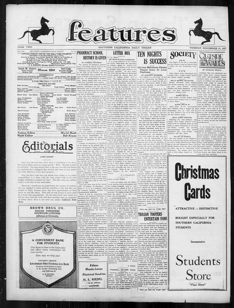 Daily Trojan, Vol. 19, No. 40, November 15, 1927