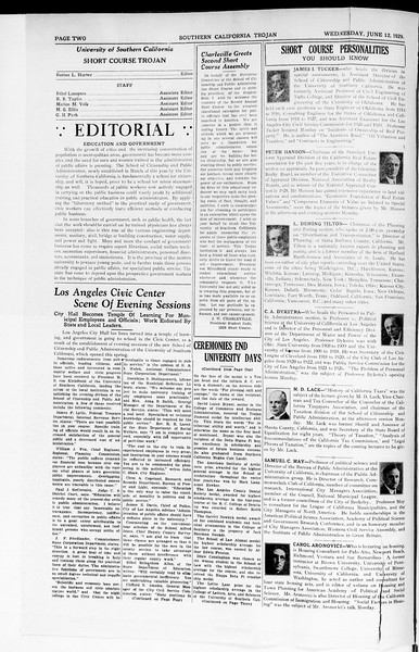 The Southern California Trojan: School of Citizenship and Public Administration, Vol. 2, No. 1, June 12, 1929