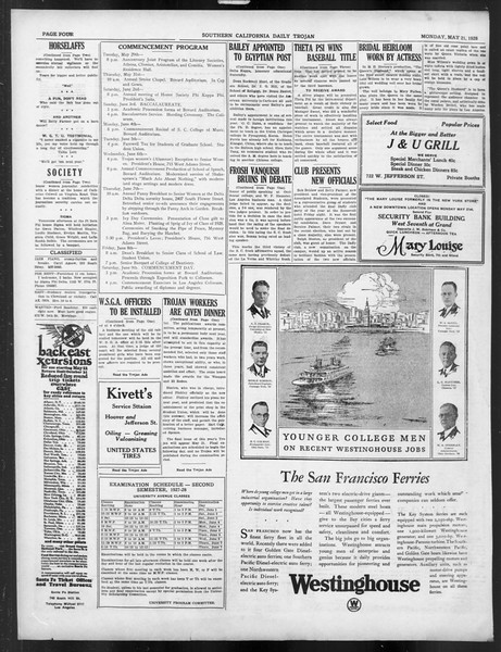 Daily Trojan, Vol. 19, No. 138, May 21, 1928