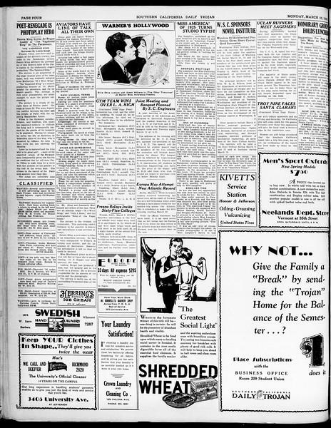 Southern California Daily Trojan, Vol. 21, No. 98, March 10, 1930