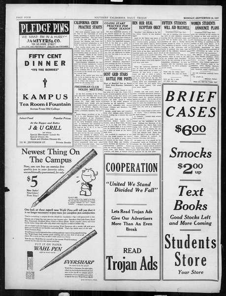 Daily Trojan, Vol. 19, No. 6, September 26, 1927