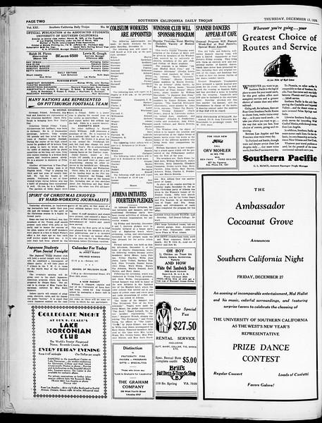 Southern California Daily Trojan, Vol. 21, No. 58, December 12, 1929