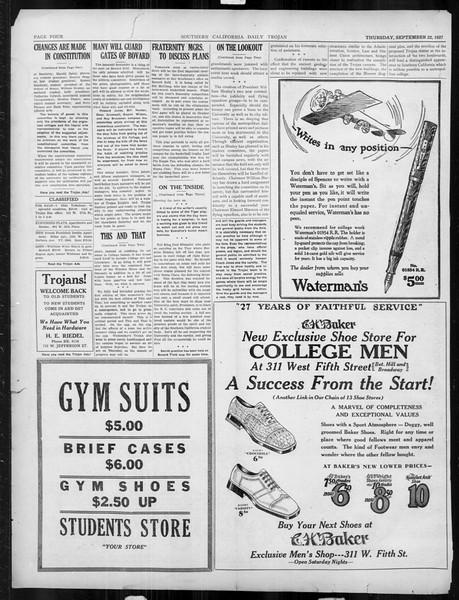 Daily Trojan, Vol. 19, No. 4, September 22, 1927