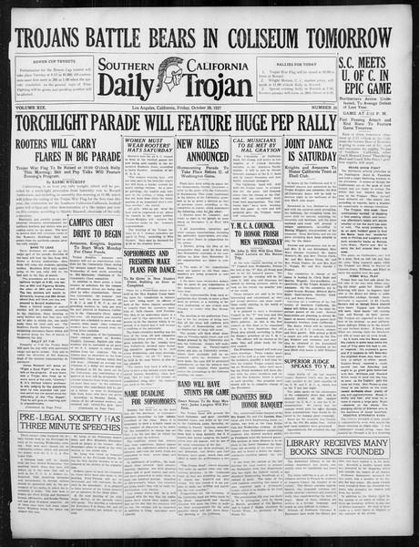 Daily Trojan, Vol. 19, No. 30, October 28, 1927