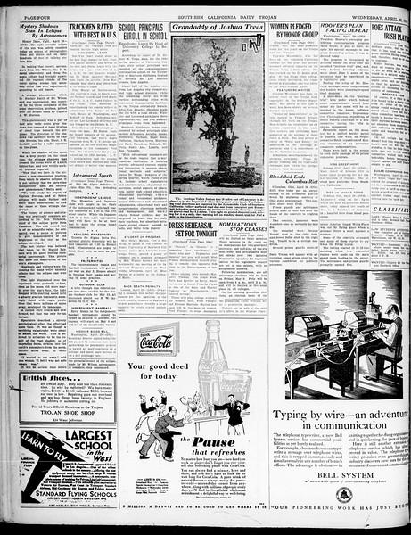 Southern California Daily Trojan, Vol. 21, No. 128, April 30, 1930