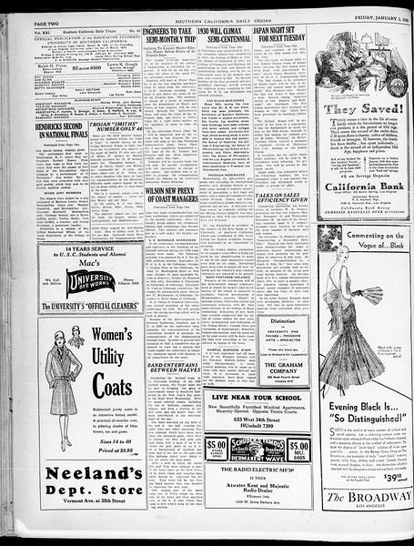 Southern California Daily Trojan, Vol. 21, No. 60, January 03, 1930