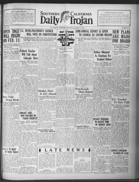 Daily Trojan, Vol. 20, No. 66, January 09, 1929