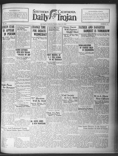 Daily Trojan, Vol. 20, No. 107, March 19, 1929