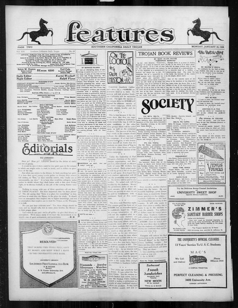 Daily Trojan, Vol. 19, No. 65, January 16, 1928