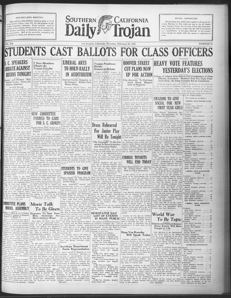 Daily Trojan, Vol. 20, No. 93, February 28, 1929