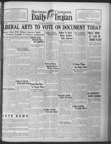 Daily Trojan, Vol. 20, No. 33, October 30, 1928