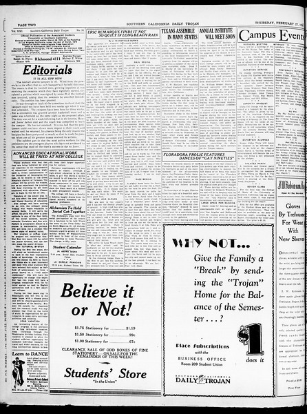 Southern California Daily Trojan, Vol. 21, No. 91, February 27, 1930