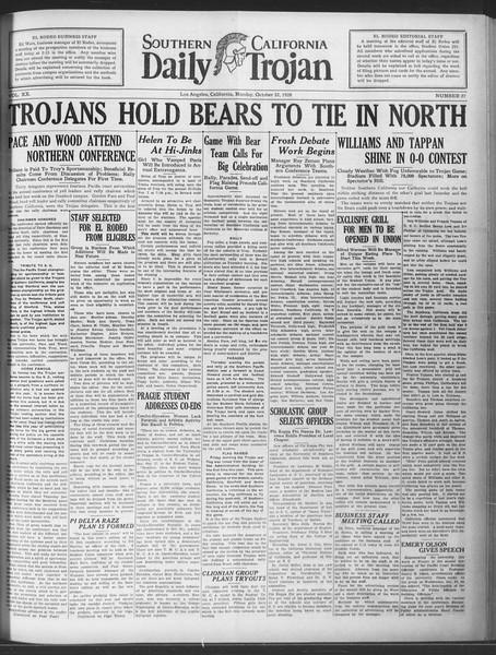 Daily Trojan, Vol. 20, No. 27, October 22, 1928