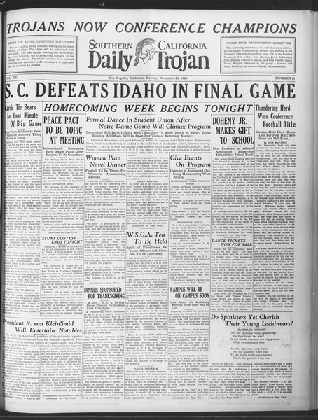 Daily Trojan, Vol. 20, No. 51, November 26, 1928
