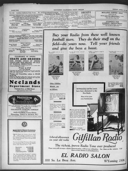 Daily Trojan, Vol. 20, No. 128, April 26, 1929