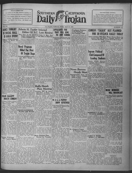 Daily Trojan, Vol. 20, No. 123, April 19, 1929