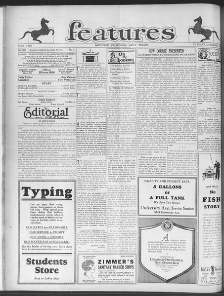 Daily Trojan, Vol. 20, No. 13, October 02, 1928