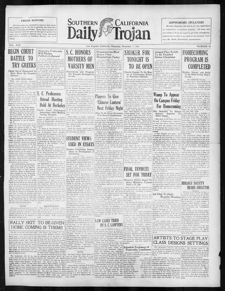 Daily Trojan, Vol. 19, No. 49, December 01, 1927