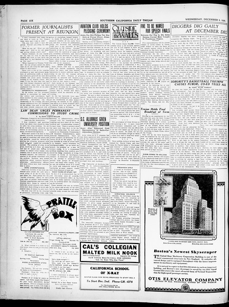 Southern California Daily Trojan, Vol. 21, No. 52, December 04, 1929