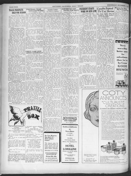 Southern California Daily Trojan, Vol. 21, No. 41, November 13, 1929