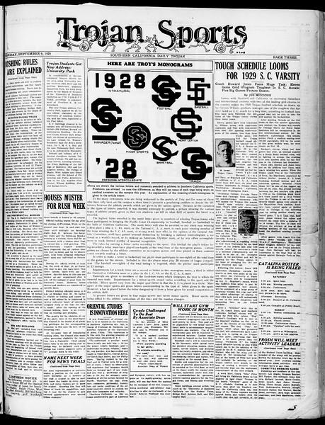 The Southern California Trojan, Vol. 21, No. Special Freshman Edition, September 09, 1929