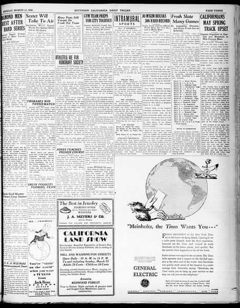 Southern California Daily Trojan, Vol. 21, No. 103, March 17, 1930
