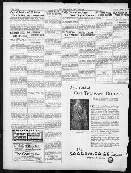 Daily Trojan, Vol. 19, No. 119, April 24, 1928