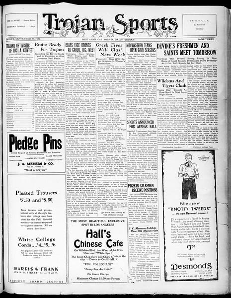 Southern California Daily Trojan, Vol. 21, No. 9, September 27, 1929