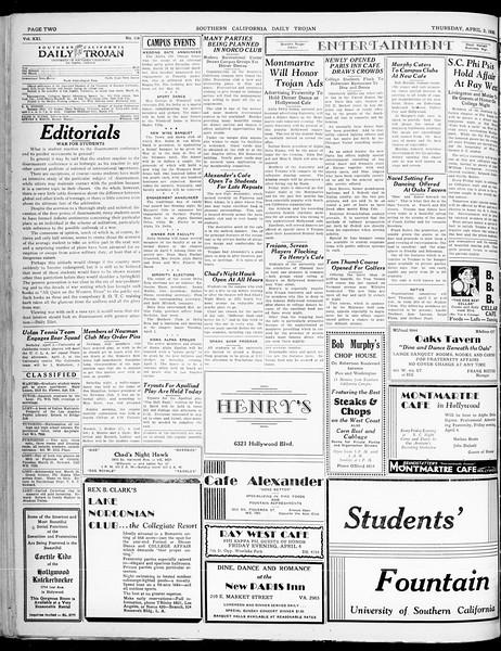 Southern California Daily Trojan, Vol. 21, No. 116, April 03, 1930