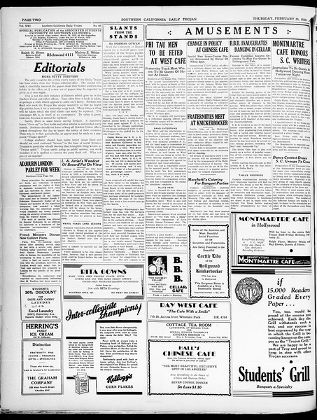 Southern California Daily Trojan, Vol. 21, No. 86, February 20, 1930