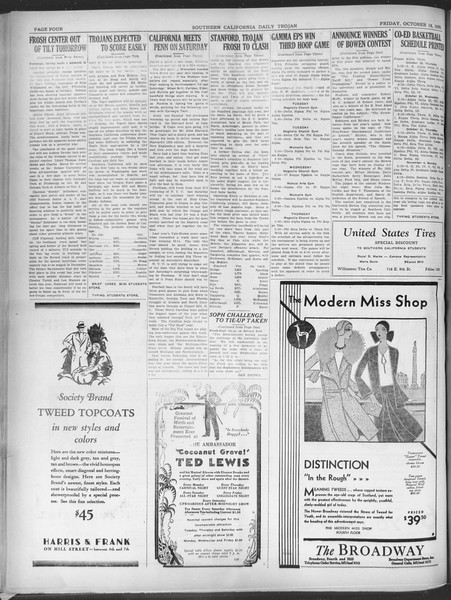 Southern California Daily Trojan, Vol. 21, No. 24, October 18, 1929