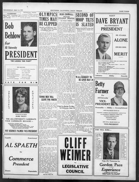 Daily Trojan, Vol. 19, No. 135, May 16, 1928