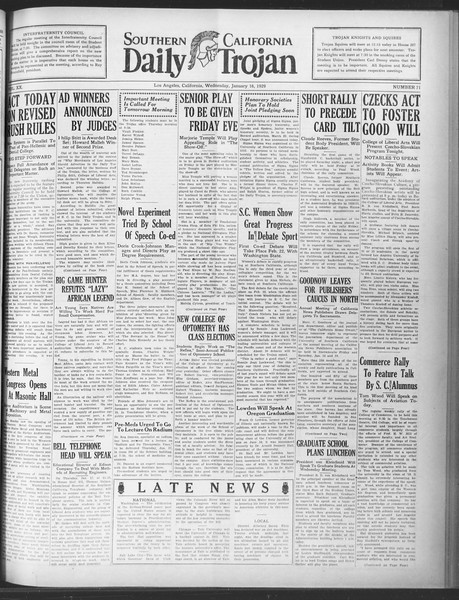 Daily Trojan, Vol. 20, No. 71, January 16, 1929