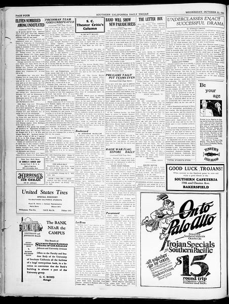 Southern California Daily Trojan, Vol. 21, No. 27, October 23, 1929