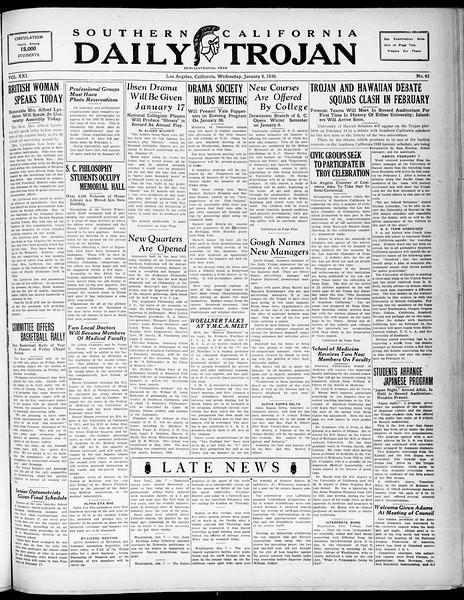 Southern California Daily Trojan, Vol. 21, No. 63, January 08, 1930