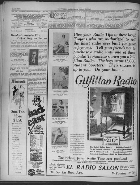 Daily Trojan, Vol. 20, No. 132, May 02, 1929