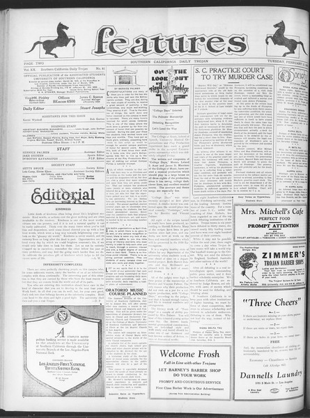 Daily Trojan, Vol. 20, No. 81, February 12, 1929