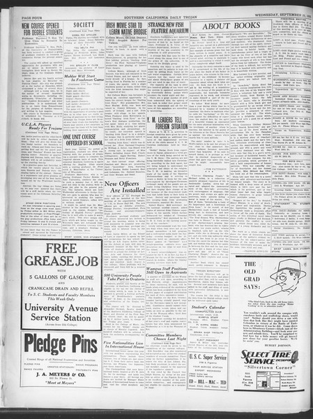 Southern California Daily Trojan, Vol. 21, No. 7, September 25, 1929