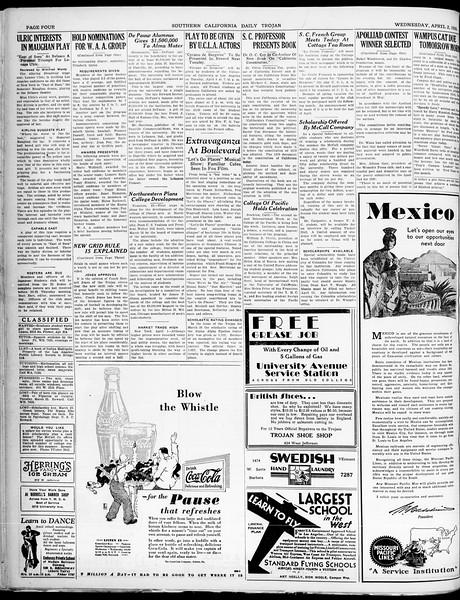 Southern California Daily Trojan, Vol. 21, No. 115, April 02, 1930